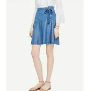NWOT Ann Taylor chambray skirt w/ lace-up detail